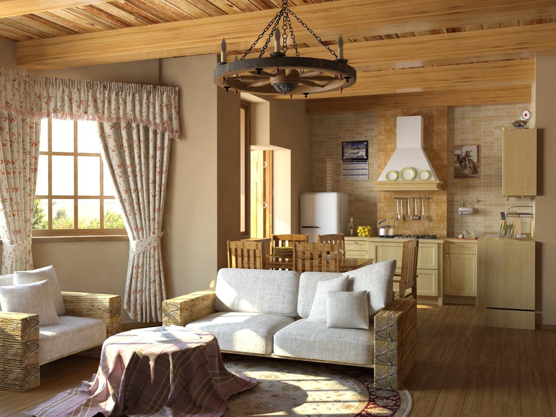 Гостиная в стиле кантри в пастельных тонах
