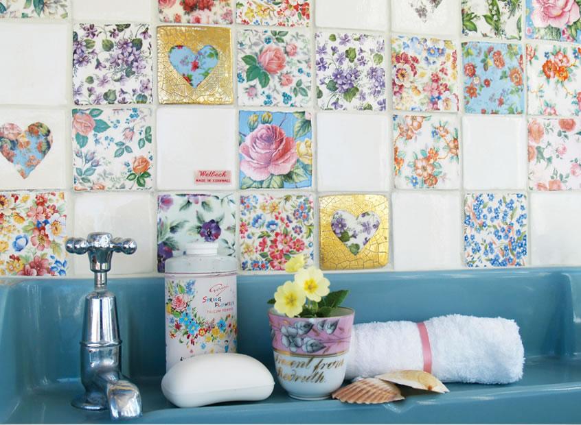 Цветочные мотивы в стиле пэчворк для плитки