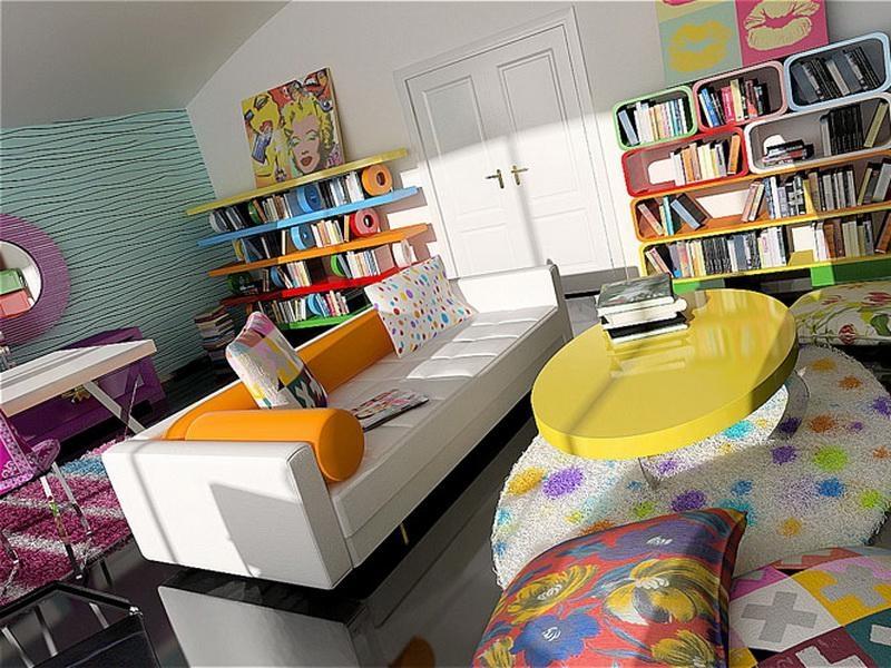 Глянцевый темный пол с яркими ковриками в стиле поп-арт