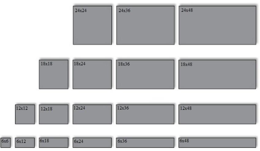 Популярные размеры керамической плитки