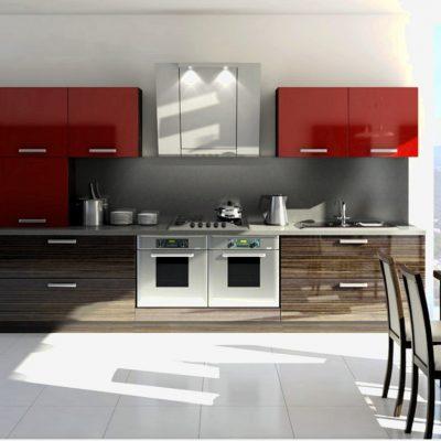 Красно-коричневая прямая кухня