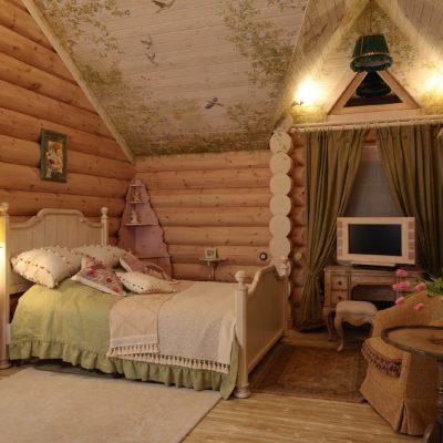 Роспись деревянного потолка в спальне