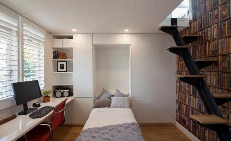Откидная кровать в скандинавской маленькой гостиной