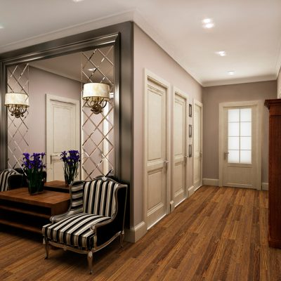 Симметричное расположение мебели и аксессуаров в стиле неоклассики