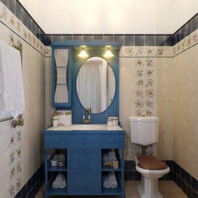 Синий мойдодыр в ванной в стиле ретро