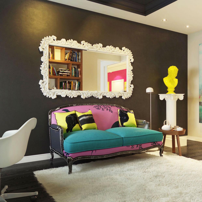 Разноцветный винтажный диван в стиле поп-арт