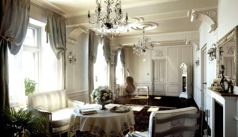 светлые тона в интерьере гостиной в классическом стиле