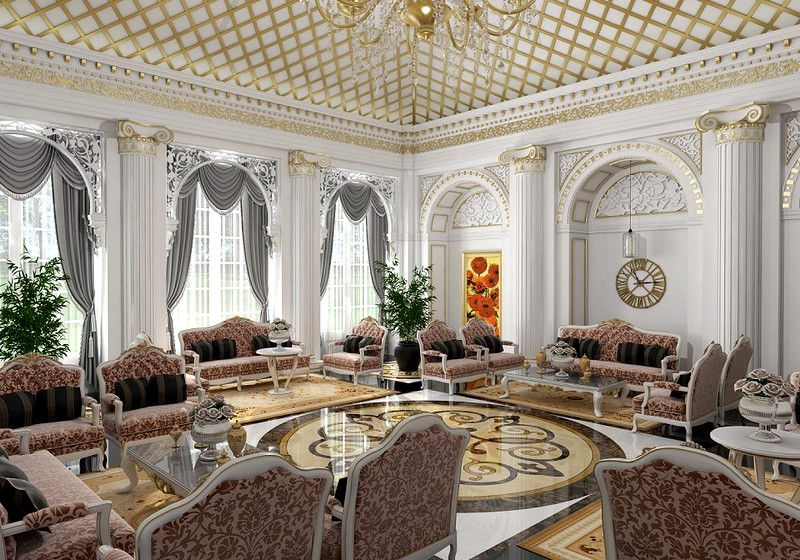 стены в интерьере классической гостиной