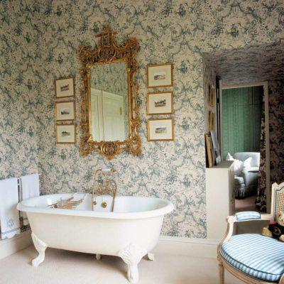 Обои в ванной в викторианском стиле