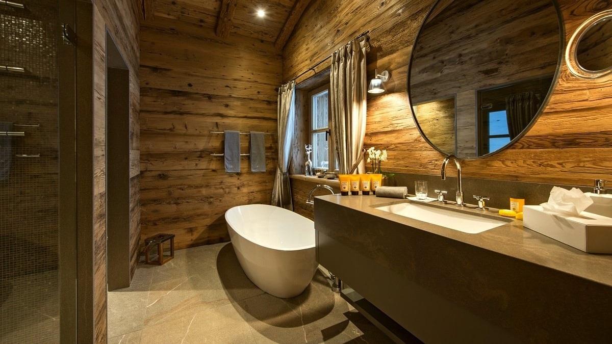 Ванная комната в стиле шале - альпийский интерьер в городской квартире