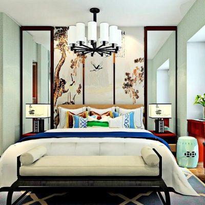 Зеркала в спальне с интерьером в китайском стиле