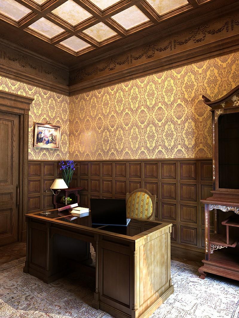 Золотистые орнаменты на обоях в кабинете в английском стиле