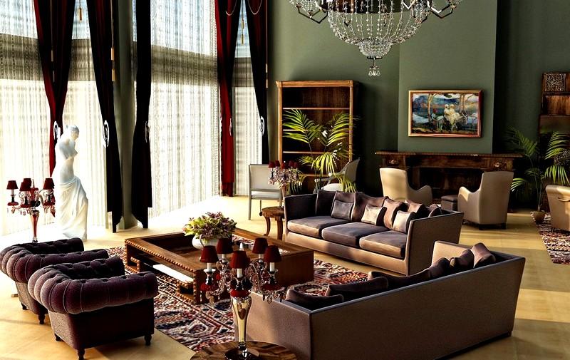 Зонирование гостиной в классическом стиле