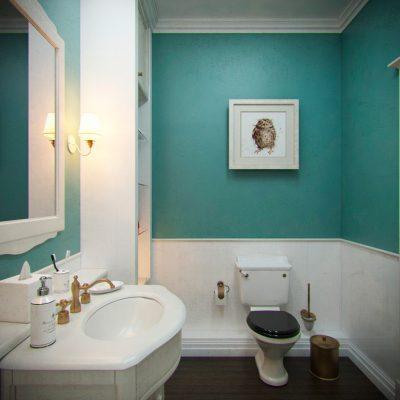 Оформление ванной в бирюзовом цвете