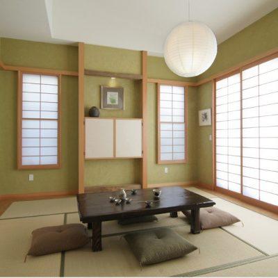Японский стиль гостиной комнаты в интерьере на фото