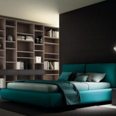 Бирюзовая кровать в интерьере
