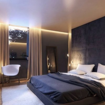 Оформление в спальни в черных цветах
