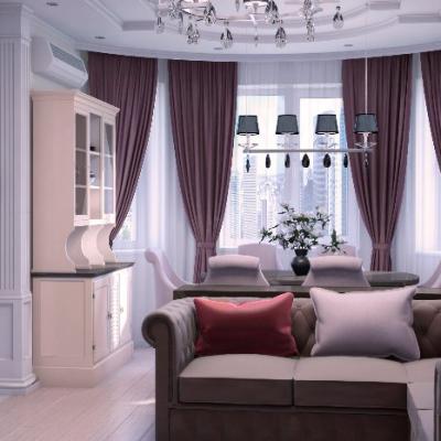 Пример штор в гостиной арт деко