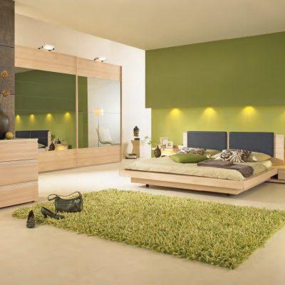 Зеленые оттенки идеально смотрятся в спальне
