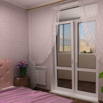 Б алконная дверь и шторы