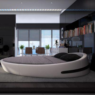 Овальная кровать идеально дополняет интерьер