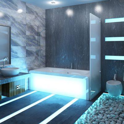 Неоновая подствека ванной