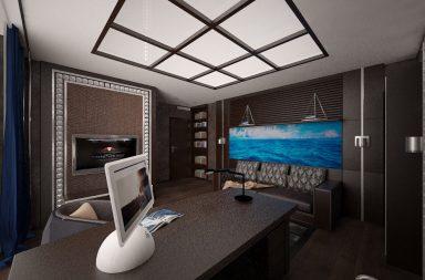 Офис-кабинет в морском стиле