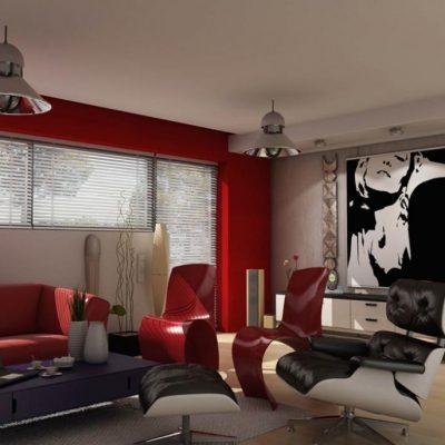 Красное оформление гостиной