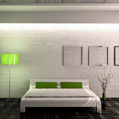 Белые стены отлично разбарят аксессуары зеленых тонов