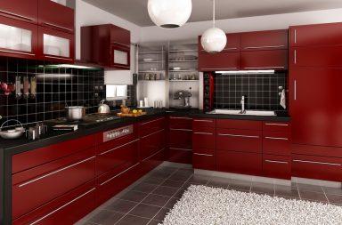 Вишневый цвет кухни модерма