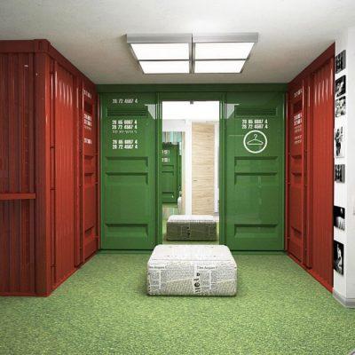 Зеленые двери в лофт прихожей