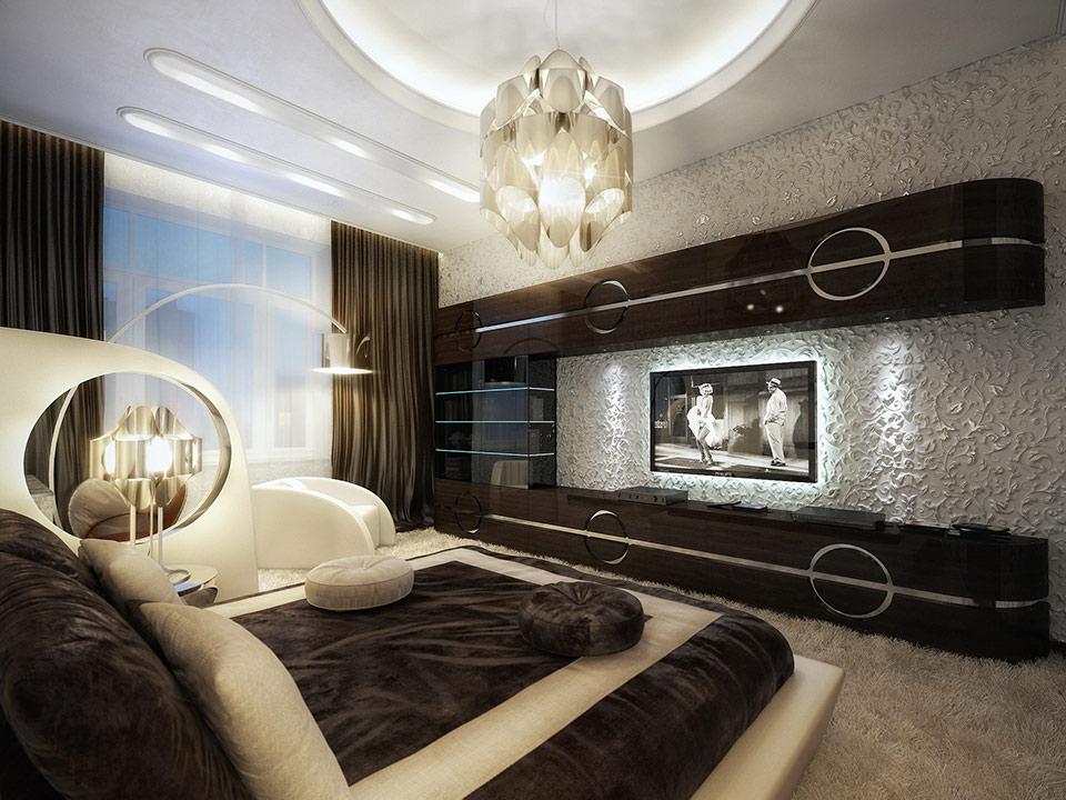 Необчный гарнитур стенка в спальне