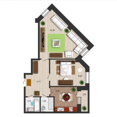 Правильная планировка 2х комнат