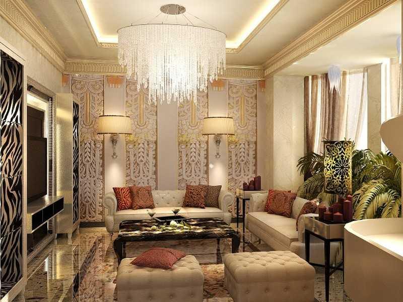 Стильный дизайн комнаты гостиной