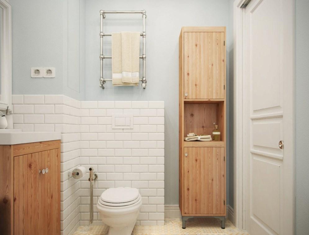 Пример ванной комнаты на фото с ящиками