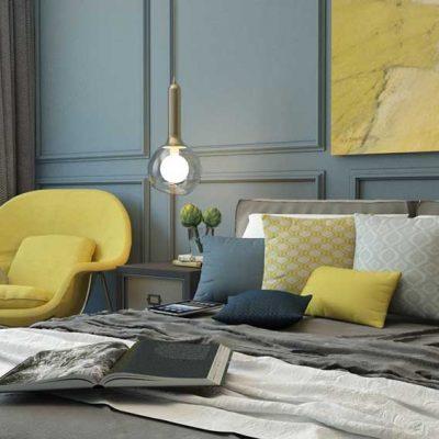 Спальня разбавленная разноцветыми подушками
