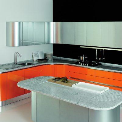 Оранжевый низ кухни