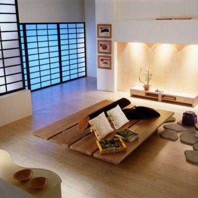 Пример гостиной комнаты на фото в японском стиле
