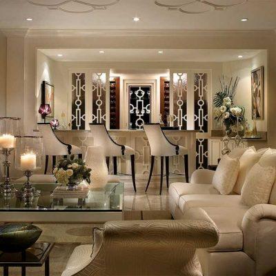 Стильный дизайн комнаты гостиной в арт деко