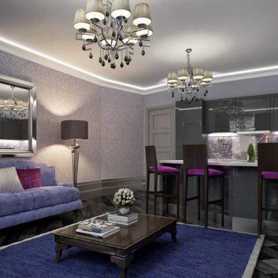 Стильный дизайн комнаты гостиной в арт деко стиле
