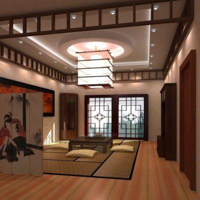 Оформление гостиной комнаты японского стиля