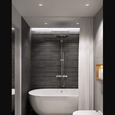 Модная комната ванной на фото примере интерьера темных тонов
