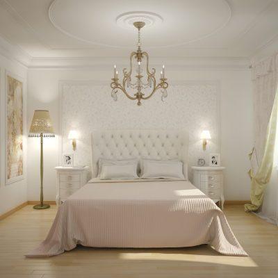 Люстра в середине спальни
