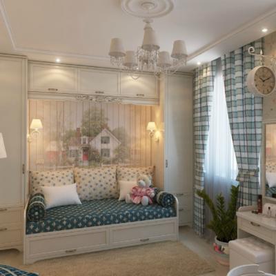 Интересное оформление детской комнаты в классическом стиле на фото