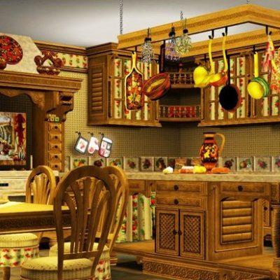 русский стиль кухни из дерева
