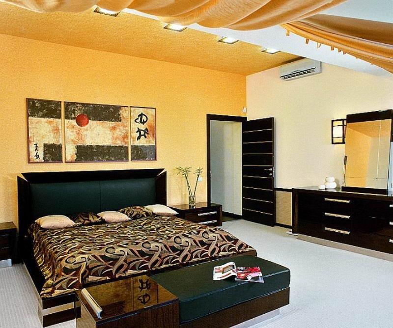 черная мебель в спальне
