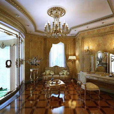 Огромное золотое помещение