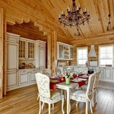 русский стиль кухни из дерева на фото