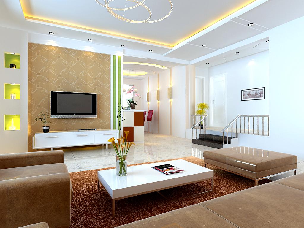 Светодиодная лента на потолке гостиной