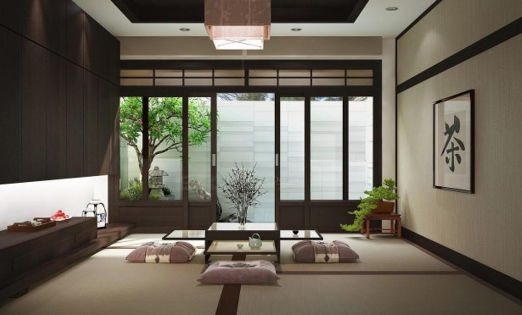 Японский стиль комнаты в гостиной